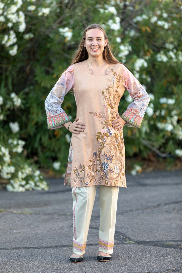 Beige Cotton Embossed Salwar Kameez Suit - Trendz & Traditionz Boutique