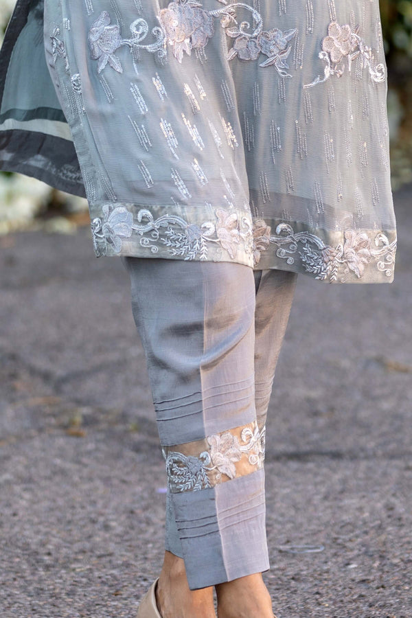 Grey Chiffon Salwar Kameez Suit - Trendz & Traditionz Boutique