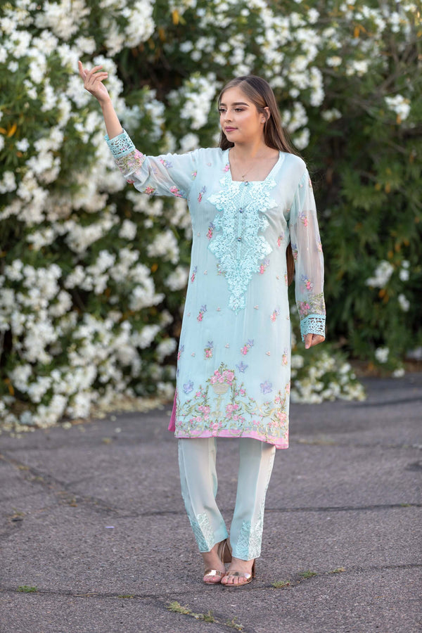 Teal Chiffon Salwar Kameez Suit With Floral Embroidery - Trendz & Traditionz Boutique