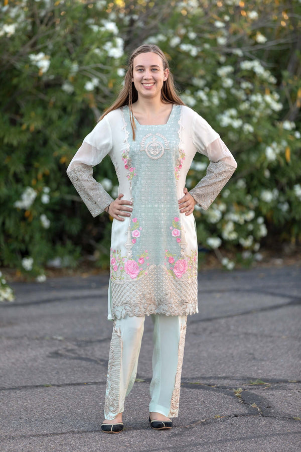 Mint Chiffon Salwar Kameez Suit - Trendz & Traditionz Boutique