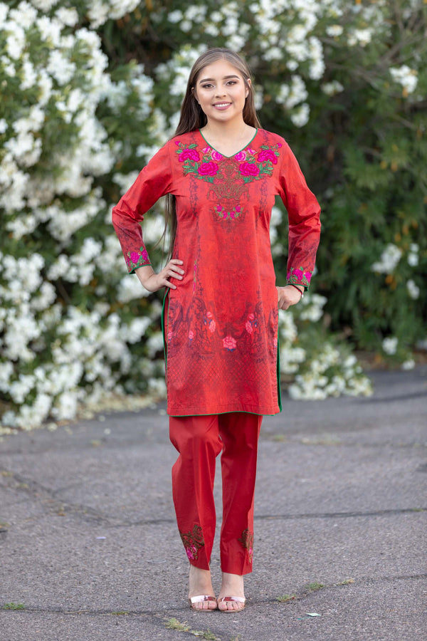 Red Chiffon Salwar Kameez Suit- Trendz & Traditionz Boutique