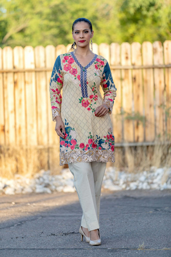 Floral Chiffon Suit With Beige Pants - Trendz & Traditionz Boutique