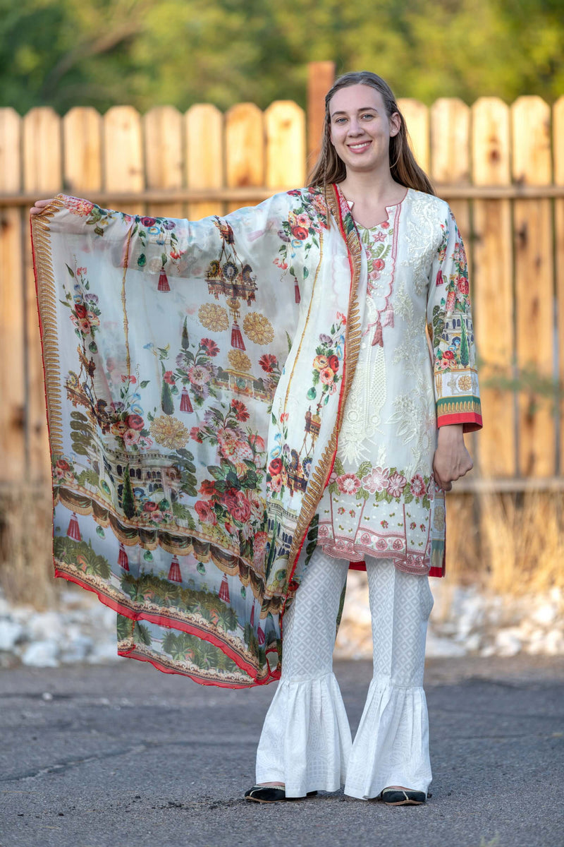White Embroidered Salwar Kameez Suit - Trendz & Traditionz Boutique