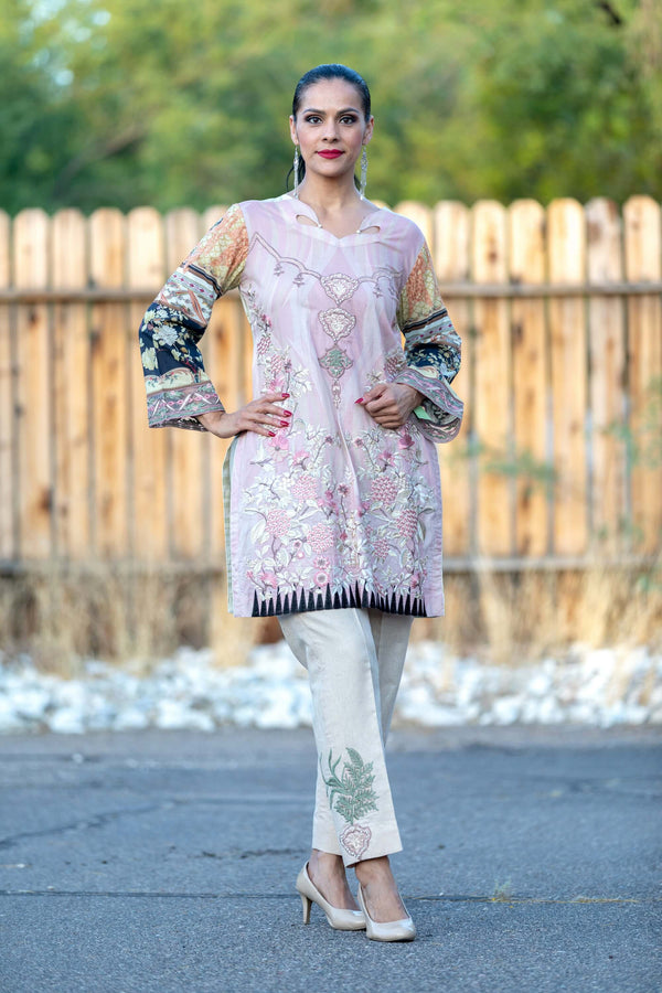 Dusty Pink Designer Cotton Silk Salwar Kameez Suit - Trendz & Traditionz Boutique