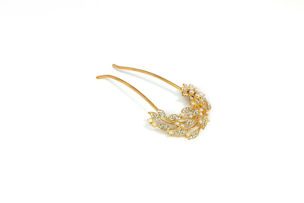 Gold Floral Hair Pin - Trendz & Traditionz Boutique