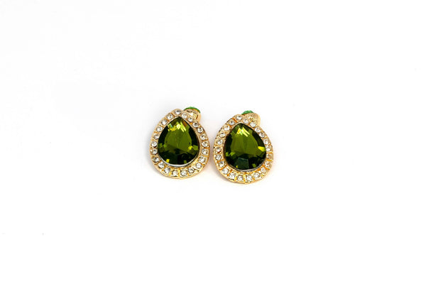 Green Earrings With Large Peridot Colored Stone - Trendz & Traditionz Boutique