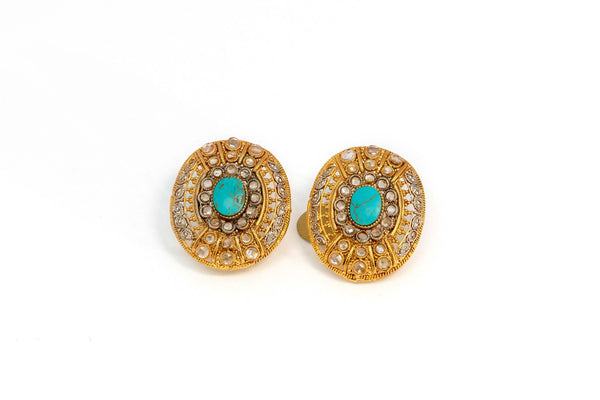 Gold Stud Earrings With Turquoises Stone - Trendz & Traditionz Boutique
