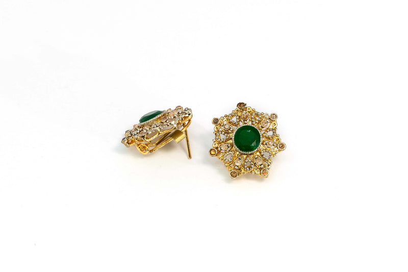 Gold Stud Earrings With Green Stone - Trendz & Traditionz Boutique