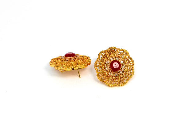 Gold Beaded Stud Earring With Stones - Trendz & Traditionz Boutique