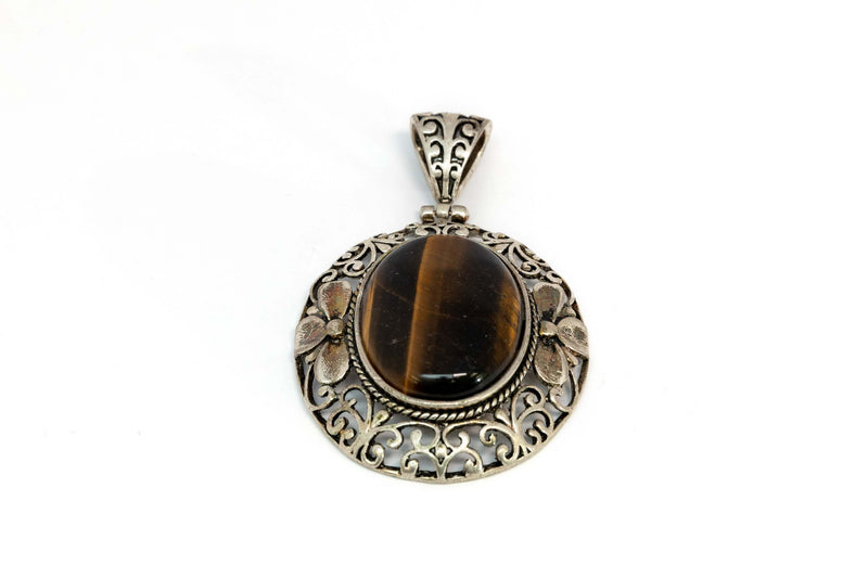 Large Pendant with Brown Stone - Trendz & Traditionz Boutique