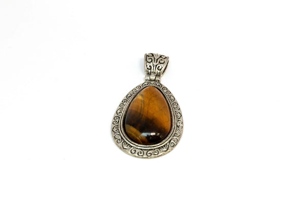 Brown Stone Set In A Silver Pendant - Trendz & Traditionz Boutique