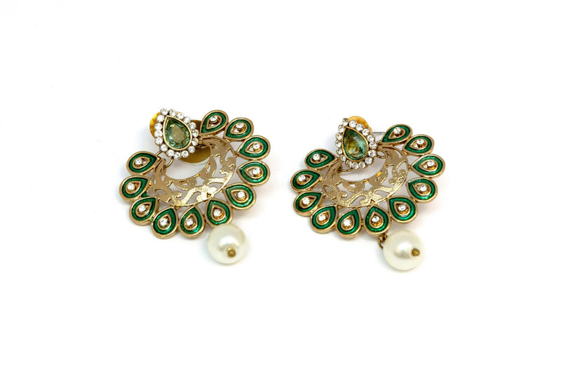 Gold Dangle Earrings With Green Accents - Trendz & Traditionz Boutique