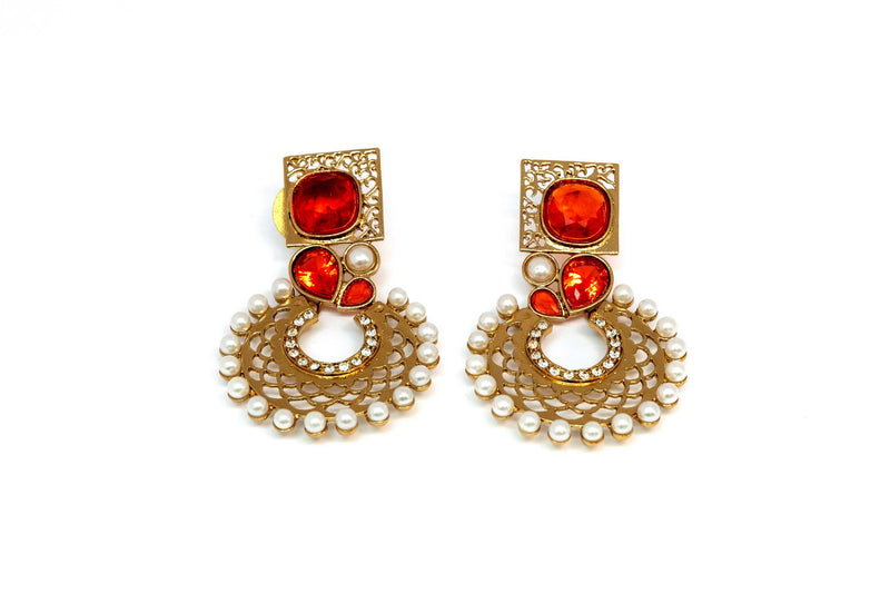 Gold Dangle Earrings With Red Stones - Trendz & Traditionz Boutique