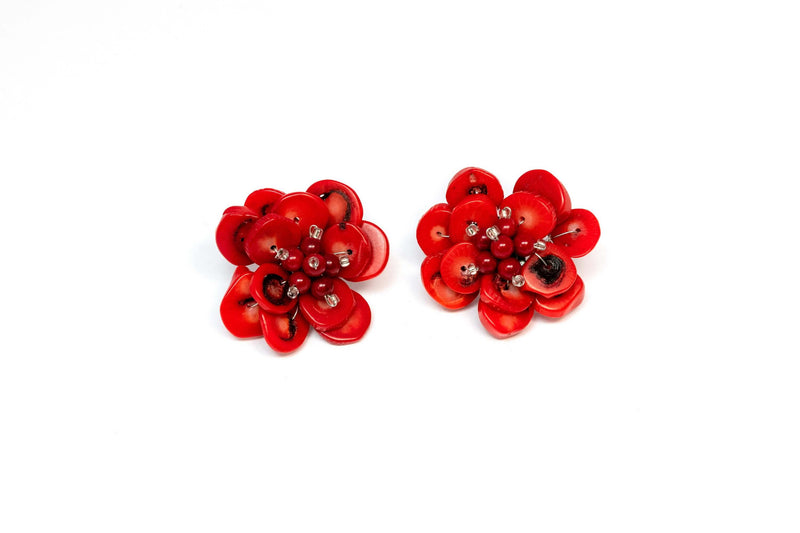 Red Flower Stud Earrings - Trendz & Traditionz Boutique