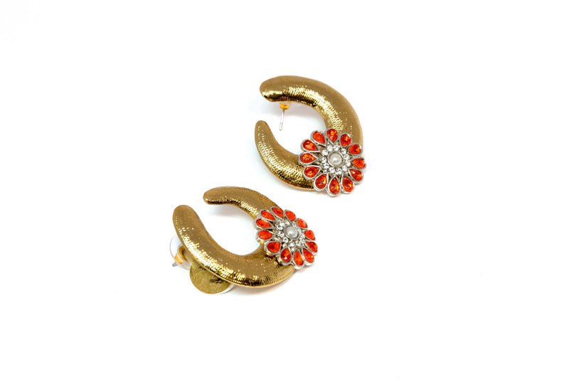 Golden Earrings with Orange Stones Set in the Golden Metal - Trendz & Traditionz Boutique