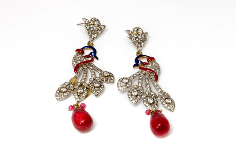 Peacock Earrings with Red and Blue Accents - Trendz & Traditionz Boutique