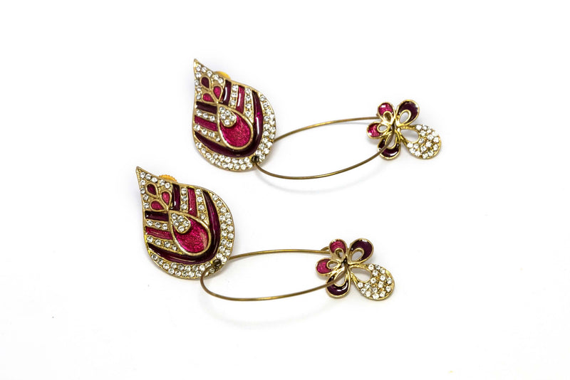 Gold Dangle Earrings With Red - Trendz & Traditionz Boutique