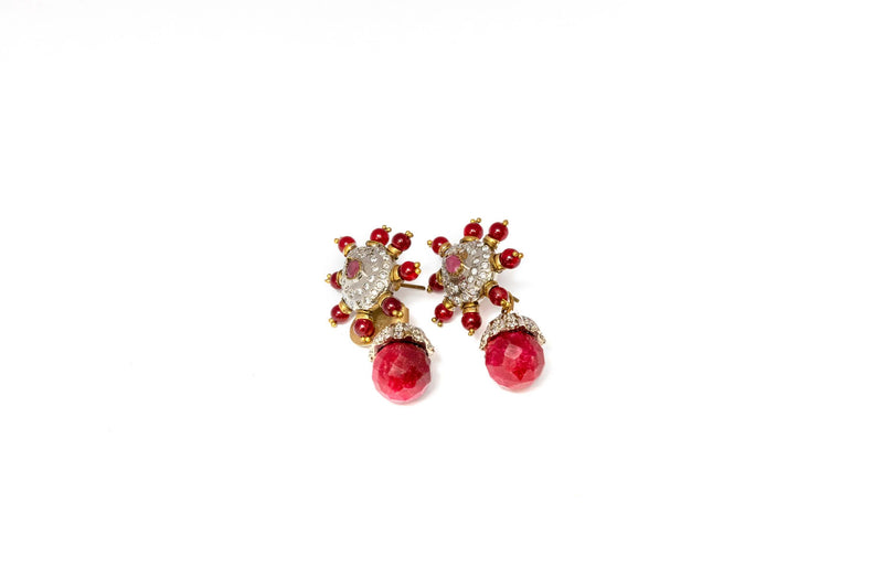 Red Dangle Earrings With Opal Stone - Trendz & Traditionz Boutique
