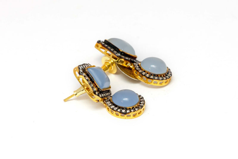 Golden Dangle Earrings With Blue Stones - Trendz & Traditionz Boutique