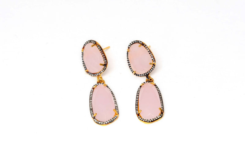 Rose Quarts Dangle Earrings - Trendz & Traditionz Boutique