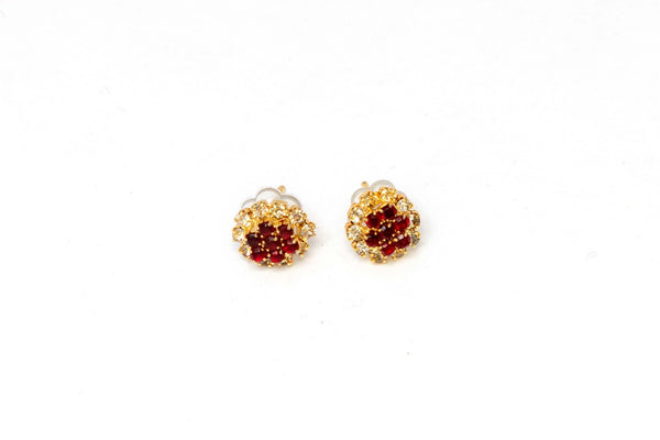 Gold Stud Earrings with Ruby Red Center - Trendz & Traditionz Boutique