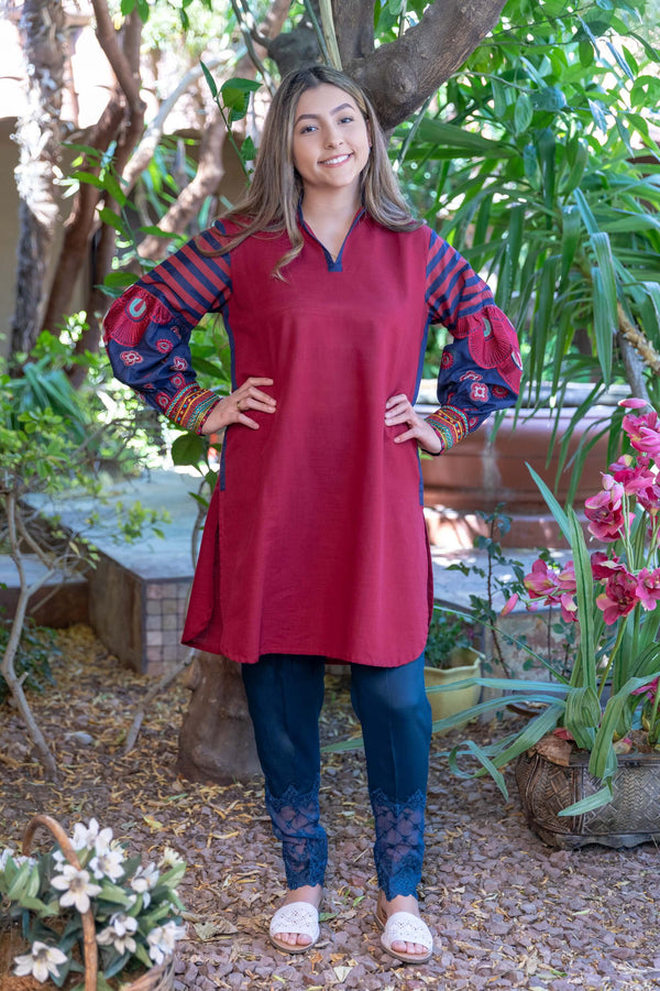 Red Cotton Kurti- Trendz & Traditionz Boutique