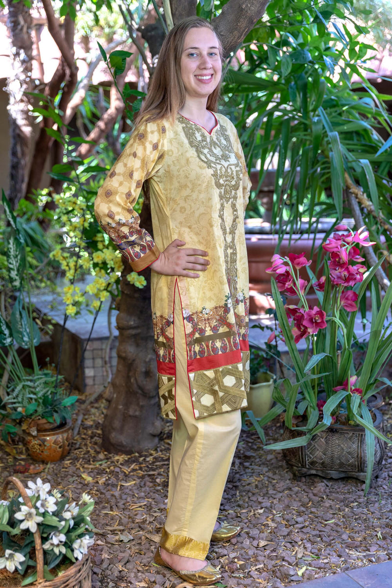 Mustard Multicolored Honey Waqar Designer Lawn-Cotton Salwar Kameez Suit- Trendz & Traditionz Boutique