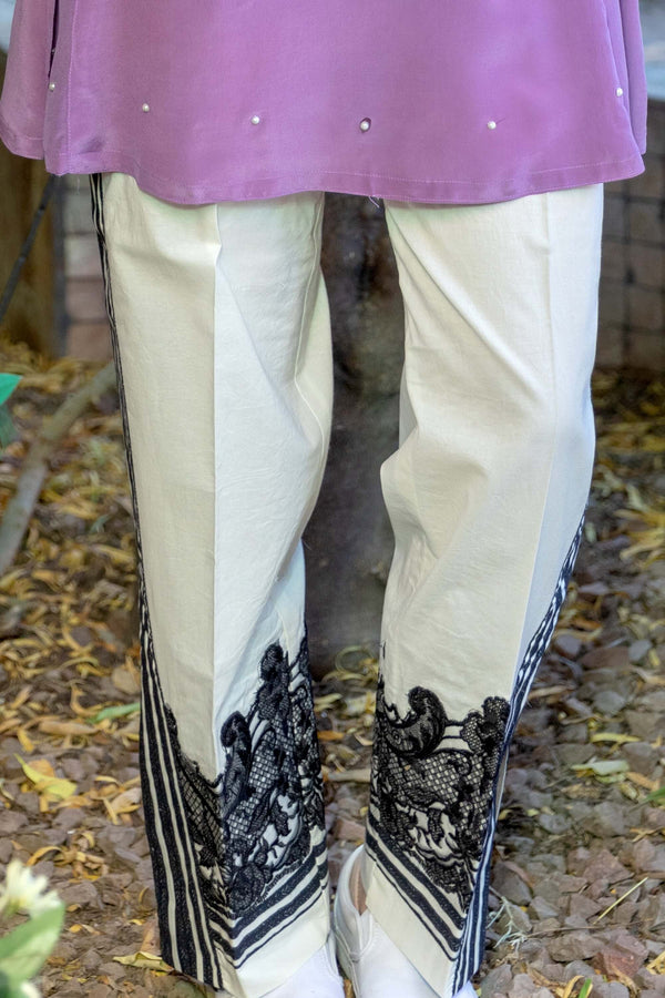Mauve Silk Shirt with Pearls & Cotton Pants- Trendz & Traditionz Boutique