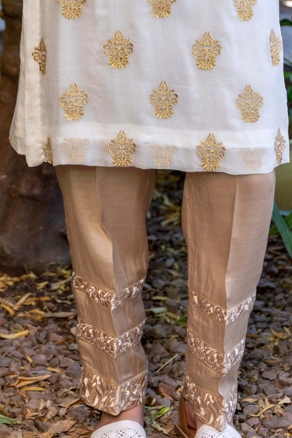 White Chiffon Shirt with Gold Embroidery & Gold-Beige Pants- Trendz & Traditionz Boutique