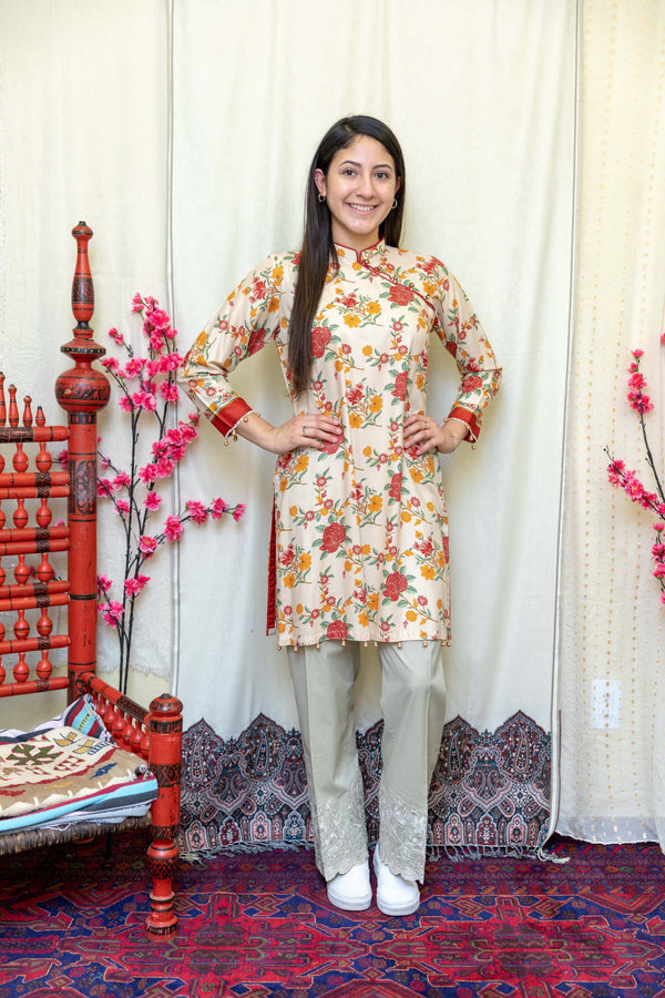 Orange Floral Chinese Style Shirt - Trendz & Traditionz Boutique