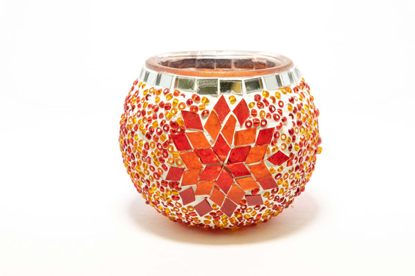 Orange Turkish Mosaic Candle Holder - Trendz & Traditionz Boutique