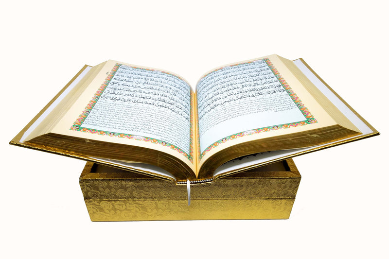 Quran in a Gold Bookcase with Compartments