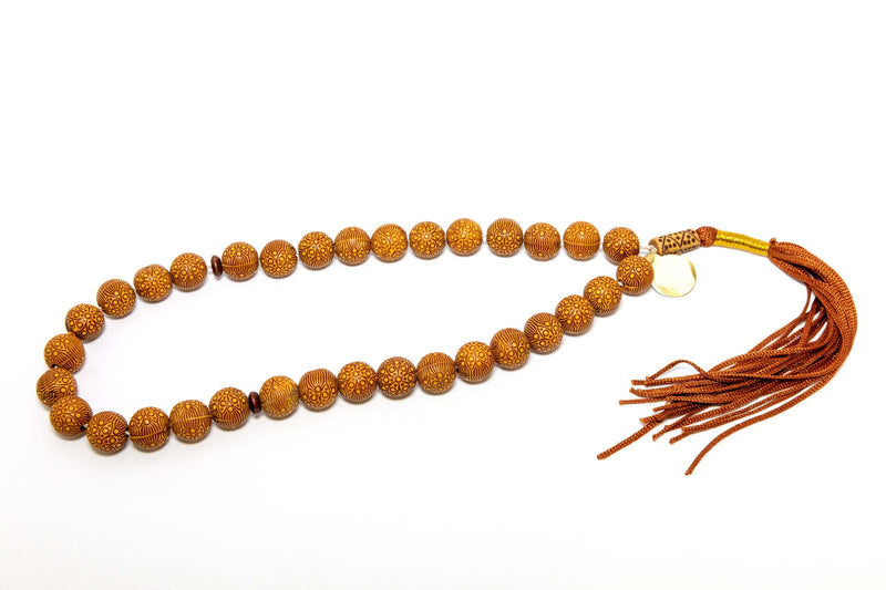 Wooden Necklace With Decorative Carvings - Trendz & Traditionz Boutique