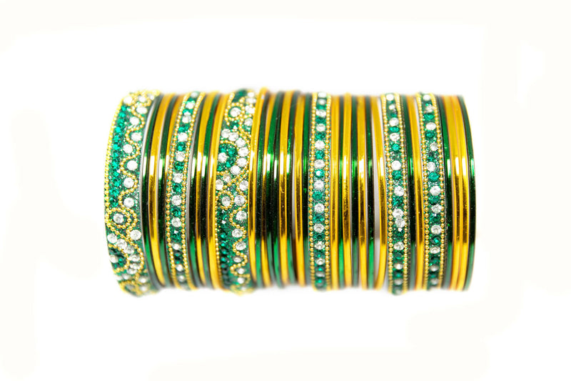 Green And Yellow Metal Bangles - Trendz & Traditionz Boutique