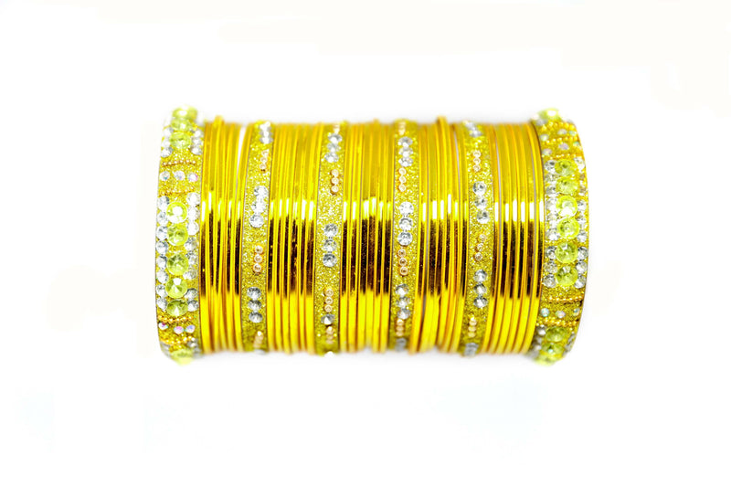 Yellow Metal Bangles - Trendz & Traditionz Boutique