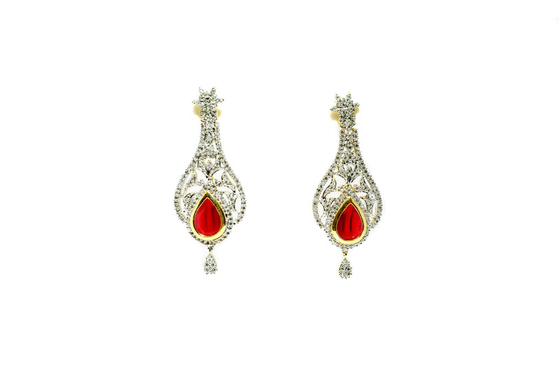 Silver Earrings - Diamante & Ruby Red Stones - South Asian Jewelry