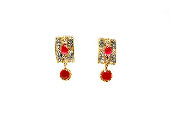 Golden Ruby Dangling Earrings