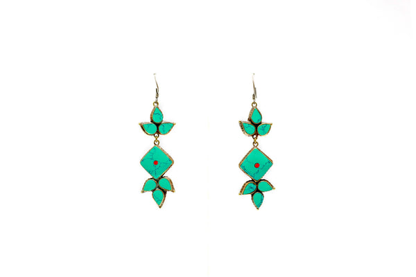 Vibrant Turquoise Dangle Earrings - South Asian Fashion & Unique Home Decor