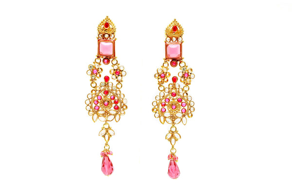 Gold & Pink Chandelier Earrings - South Asian Statement Earrings