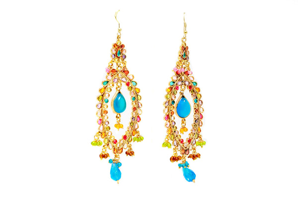 Multi Beaded Dangling Earings - Trendz & Traditionz Boutique