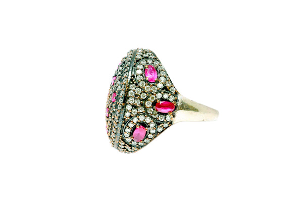 Turkish Silver Ring With Pink Stones - Trendz & Traditionz Boutique