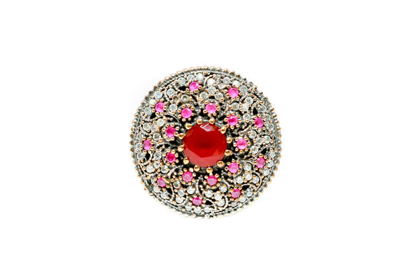 Turkish Silver Ruby Red Shield Ring - Trendz & Traditionz Boutique