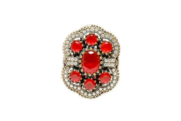 Turkish Silver Ruby Red Statement Ring - Trendz & Traditionz Boutique