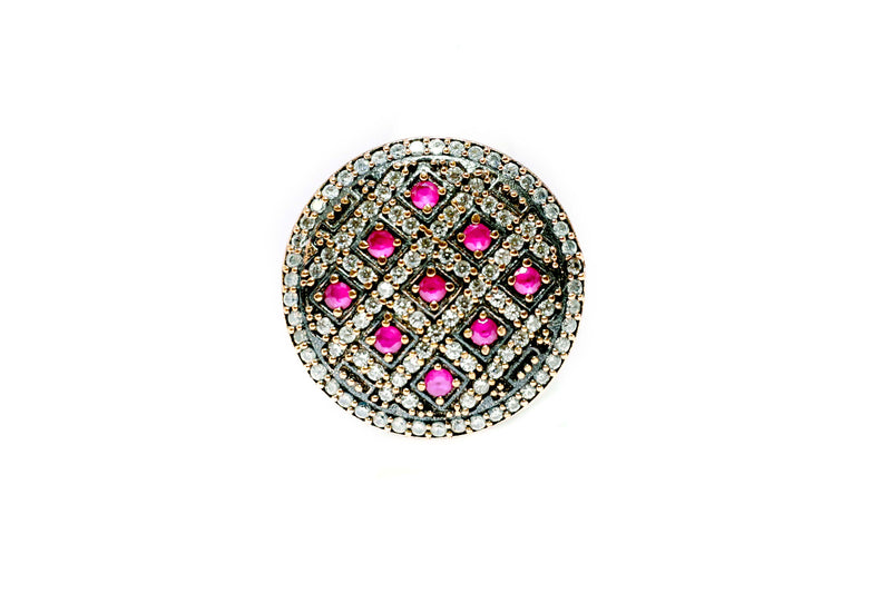 Turkish Silver Shield Ring- Magenta - Trendz & Traditionz Boutique