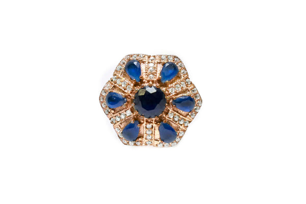 Turkish Silver Floral Ring With Blue Stones - Trendz & Traditionz Boutique