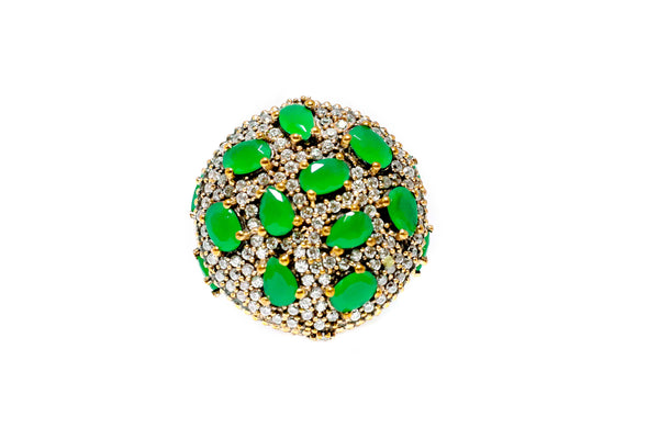 Turkish Silver Ring With Green Stones- Trendz & Traditionz Boutique