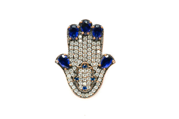 Turkish Silver Blue Gem Hamsa Ring - Trendz & Traditionz Boutique