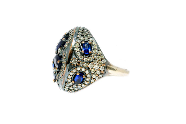 Turkish Silver Ring With Blue Stones - Trendz & Traditionz Boutique