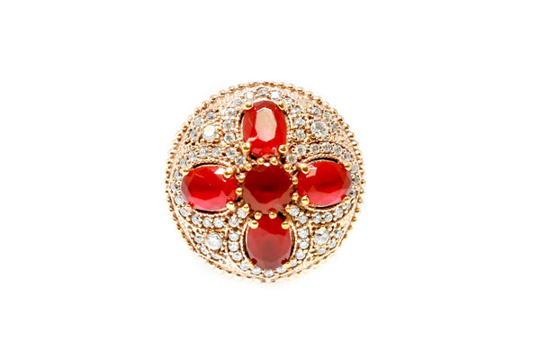 Turkish Silver Red Cross Shield Ring - Trendz & Traditionz Boutique