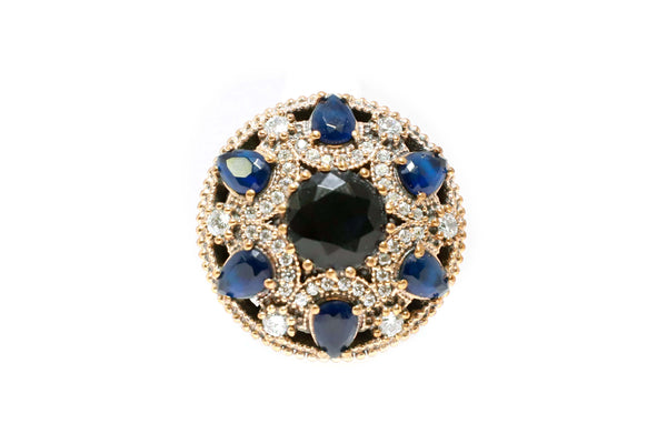 Turkish Silver Blue Gem Statement Ring - Trendz & Traditionz Boutique